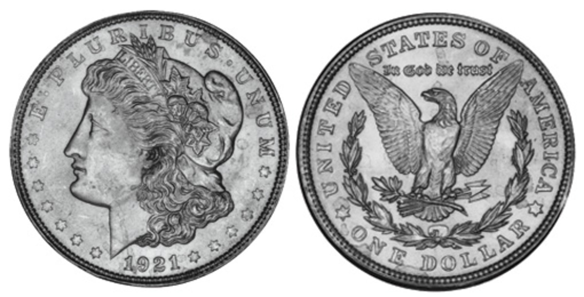Morgan Silver Dollars were minted from 1878 to 1904, and then again in 1921, when millions were minted at several different mints around the country.