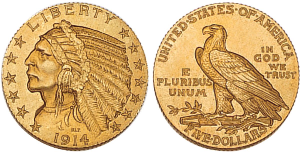 Denomination: $5 Weight: 8.36 grams Diameter: 21.6 mm Composition: .900 gold Actual Gold Weight: .2403 oz Dates Minted: 1908-1916, 1929 Designer: Bela Lyon Pratt