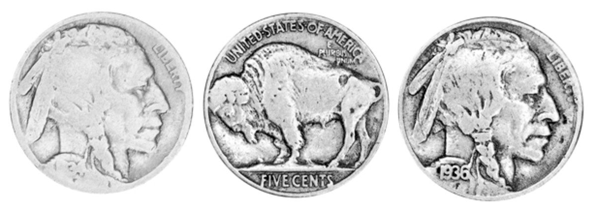 Buffalo nickels were well used and many became so worn that the dates disappeared. While these specimens have not gotten to that point, they still are examples of coins that served the purpose for which they were made. They were spent by ordinary people in their daily lives.