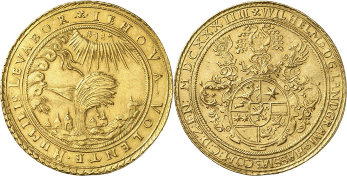 Realizing $244,200 was a 10 ducats gold coin of William V of Hesse-Kassel. The catalog said it is probably the only Willow striking in private hands.