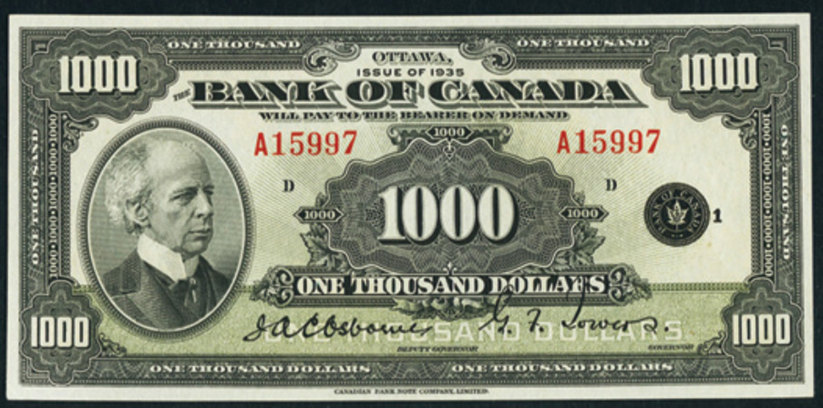 Best of Canada: English $1,000 of 1935, BC-19, which fetched $19,200 in PMG Gem Uncirculated 65. (Image courtesy www.ha.com)
