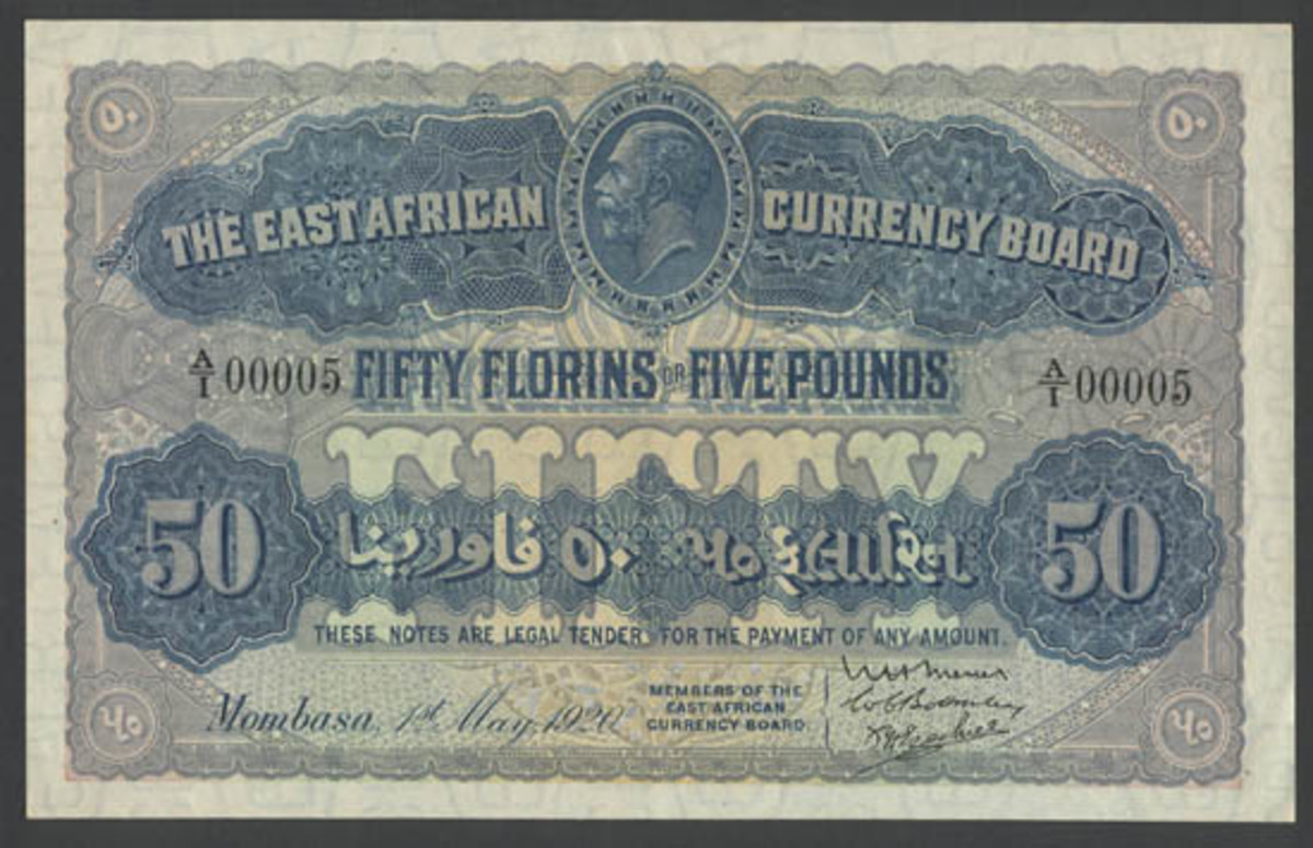 Sublime rarity: Currency Board 50 florins (= 5 pounds) of 1 May 1920 (P-12) heading for the block at Spink London in PCGS Choice About New 55 and with an estimate of $40,000-45,000. (Image courtesy and © Spink, London)