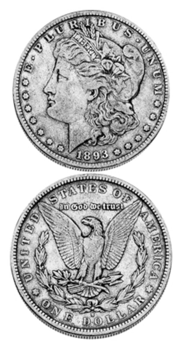 A coin with character is worn Morgan silver dollar. An 1893-S is a key date and is avidly sought even in less than Mint State grades.