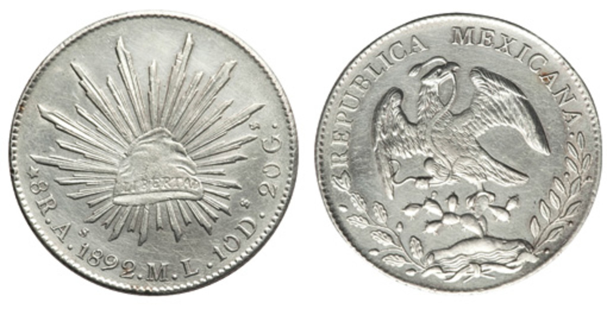This 1892 Mexico 8 Reales As-ML Choice AU has a good amount of fundamental eye appeal. The proper strike and details are actualized in a pleasant fashion. (Images courtesy Heritage)