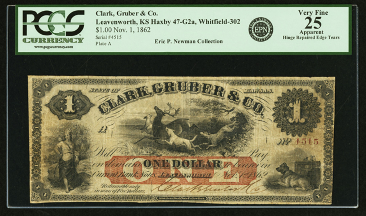 This $1 Clark, Gruber & Co. note is not only rare, it's also linked to the Denver Mint.