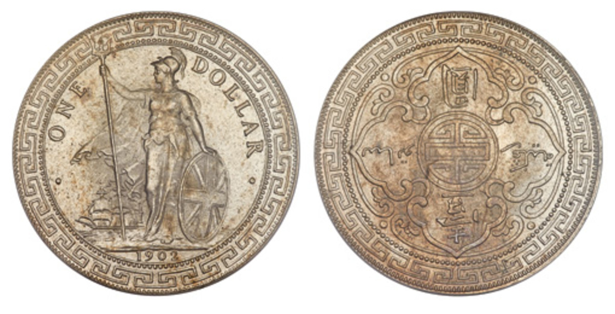 An Edward VII Trade Dollar 1902-B MS65 PCGS, Bombay mint, KM-T5, Prid-13 is a desirable British Trade Dollar. Shown here with satiny surfaces and light toning throughout, it's a Gem. (Images courtesy of Heritage)