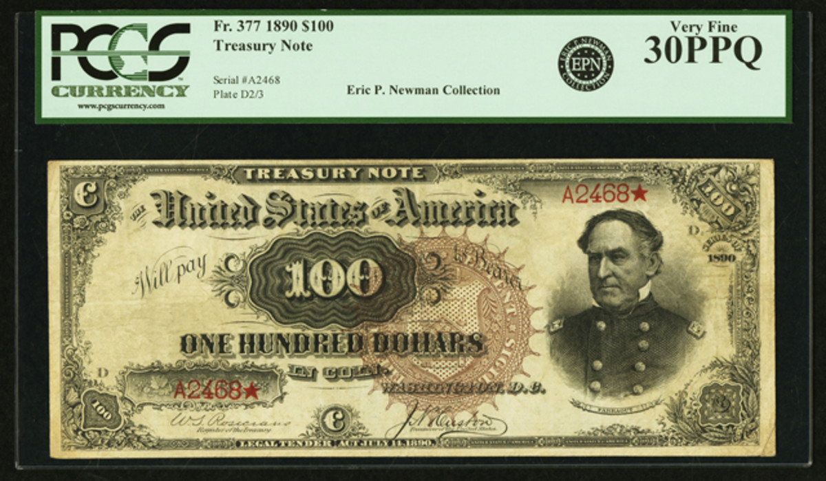 Appearing for the first time at auction will be this $100 Watermelon Note from the Eric P. Newman Collection.