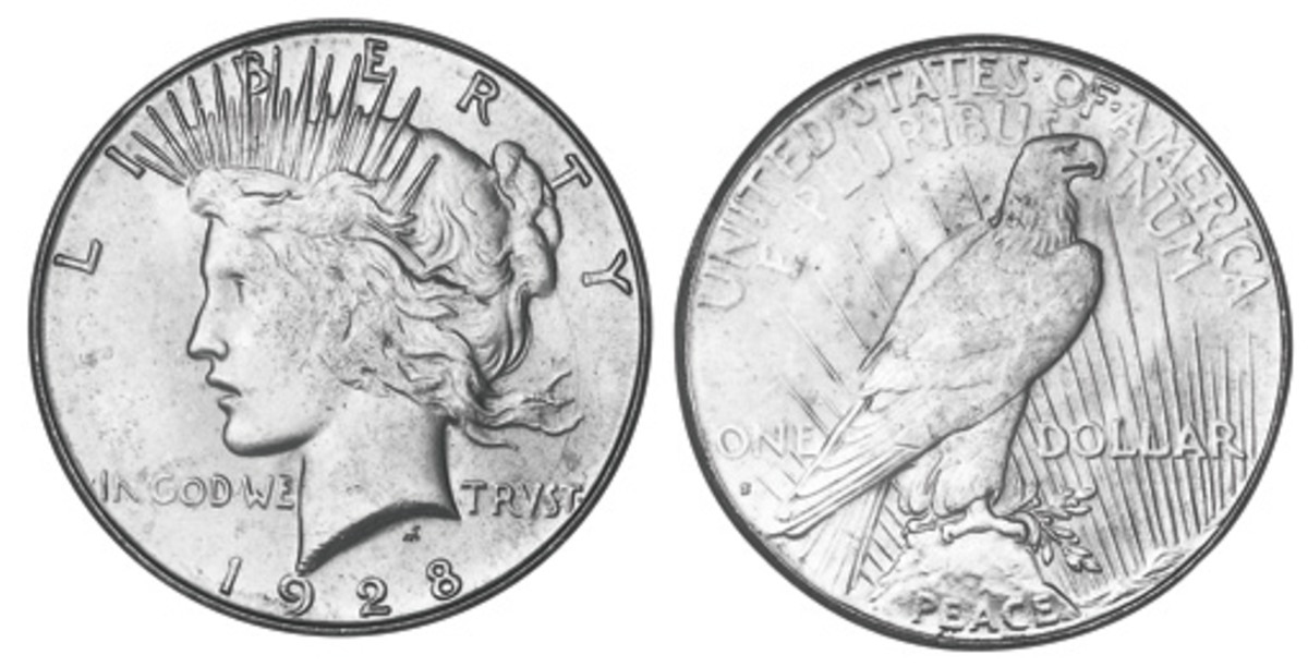 The 1928-S Peace Dollar, shown here, can be mistaken for the much lower mintage 1928 Peace Dollar, which can range in value from $185-$3,600, depending on condition.