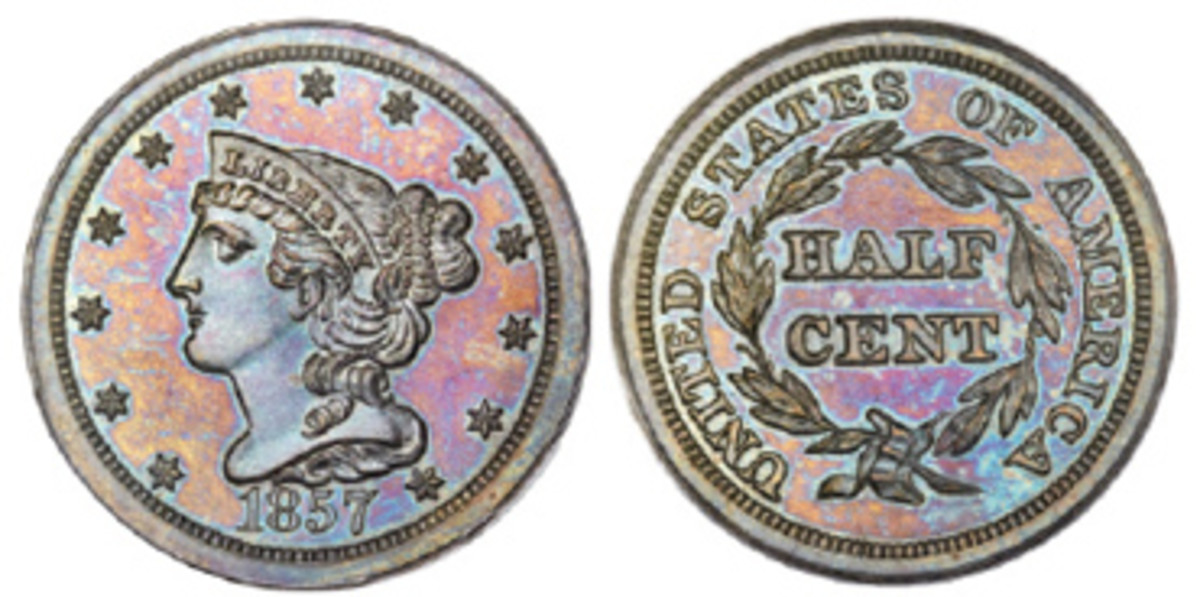 The last of the half cents came off Mint coining presses in 1857, which was also the large year of the large cent. (Image courtesy Heritage)