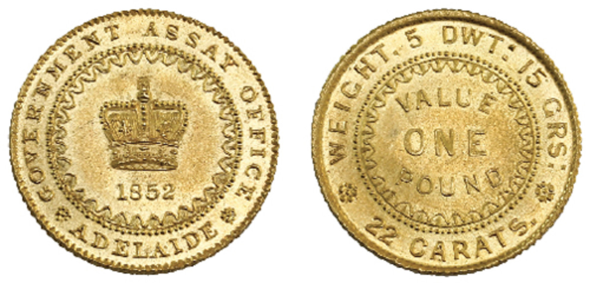 The sole known 1852 mint condition South Australian Adelaide pound that will go to the block with an estimate of A$400,000. (Images courtesy © IAG)