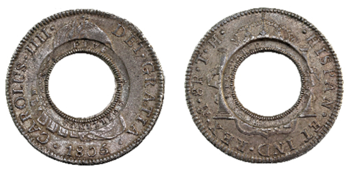 The finest-known New South Wales holey dollar of 1813 to be sold in September by International Auction Galleries in UNC condition. (Images courtesy © IAG)
