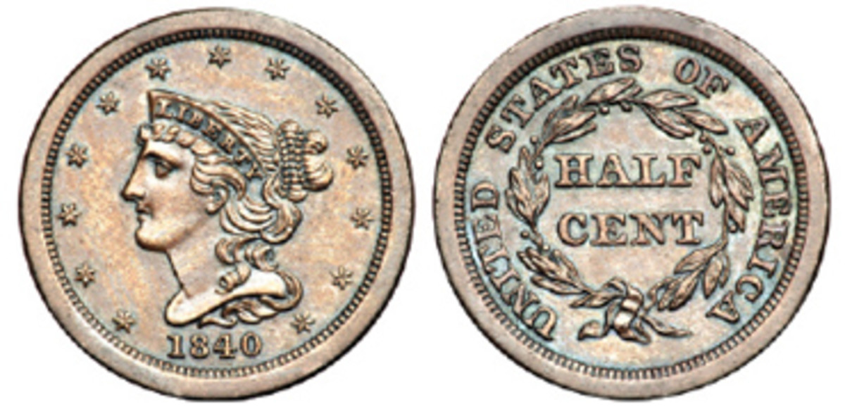 The Mint began strike a series of proof-only half cents in 1840. (Image courtesy Goldberg)