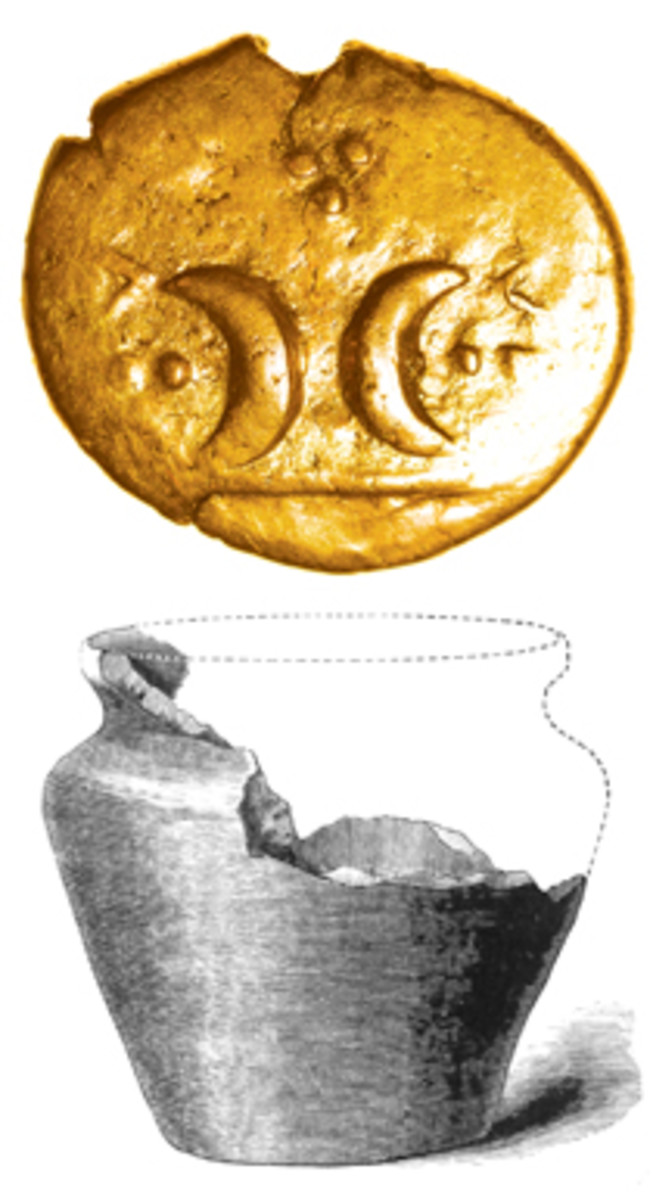 Top, gold stater (ABC 1444) to be offered in the Chris Rudd sale in January. One of c.90 found at Freckenham, Suffolk, in 1885. (Image courtesy Chris Rudd.) Bottom, line engraving of the crock found containing 90 gold coins of the Iceni at Freckenham. (Image ex. Proceedings of the Society of Antiquaries, 1889)