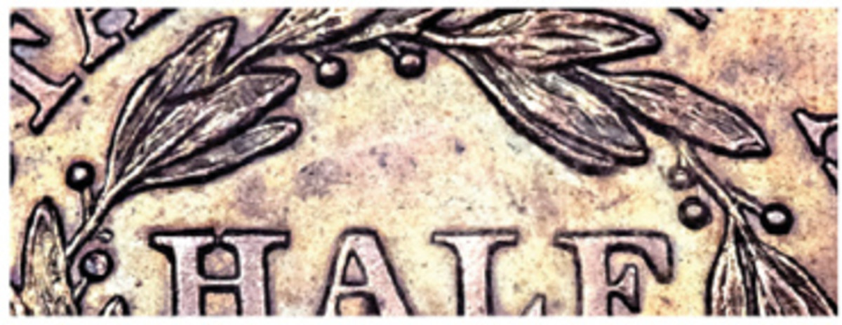 Original half cent reverse die with large berries is enlarged here for a closer look. (Heritage images)
