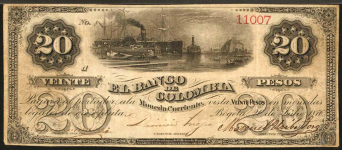 Extremely rare issued and uncanceled Banco de Colombia 20 pesos of July 20, 1876, (P-S386) that took $19,200 in PMG Very Fine 25. (Image courtesy Stack's Bowers)