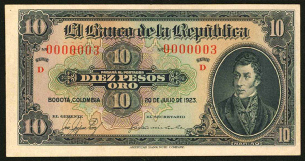 Gold 10 pesos, P-364a, from Banco de la República set that took $84,000 on an estimate of $2,500-$5,000 at the Stack's Bowers sale of the Eldorado Collection of the Paper Money of Colombia. All four notes had serial number 0000003. (Image courtesy Stack's Bowers.)