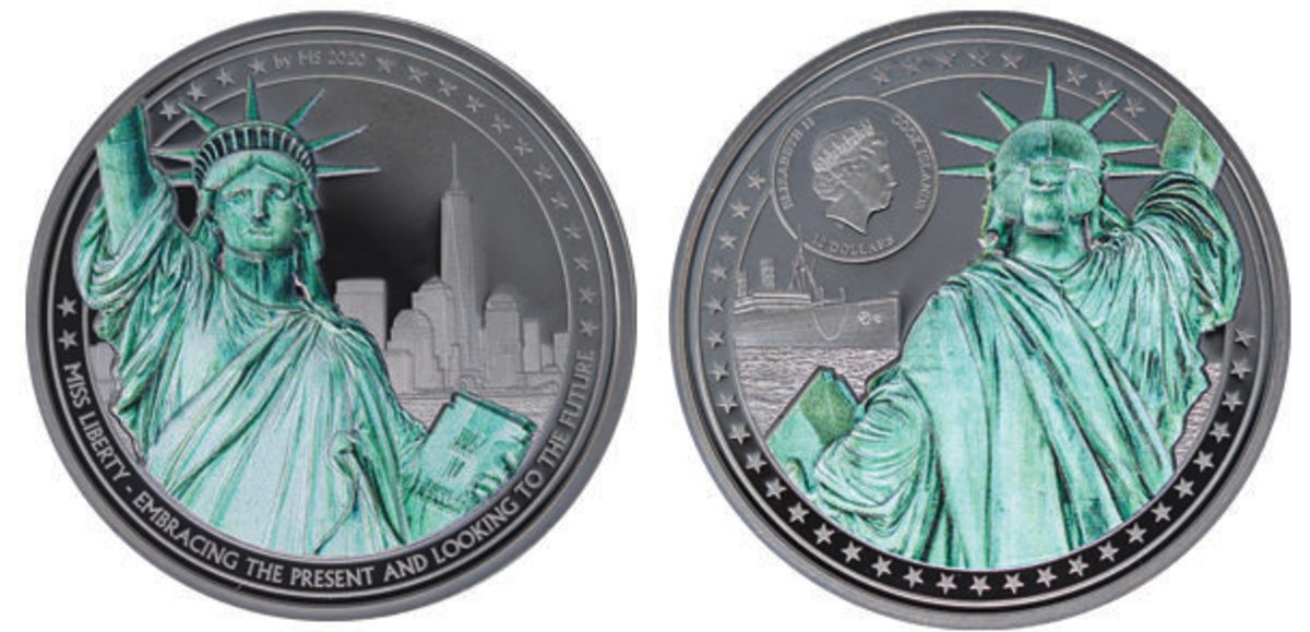 Obverse and reverse of the 2-ounce .999 fine silver $10 Miss Liberty coin.