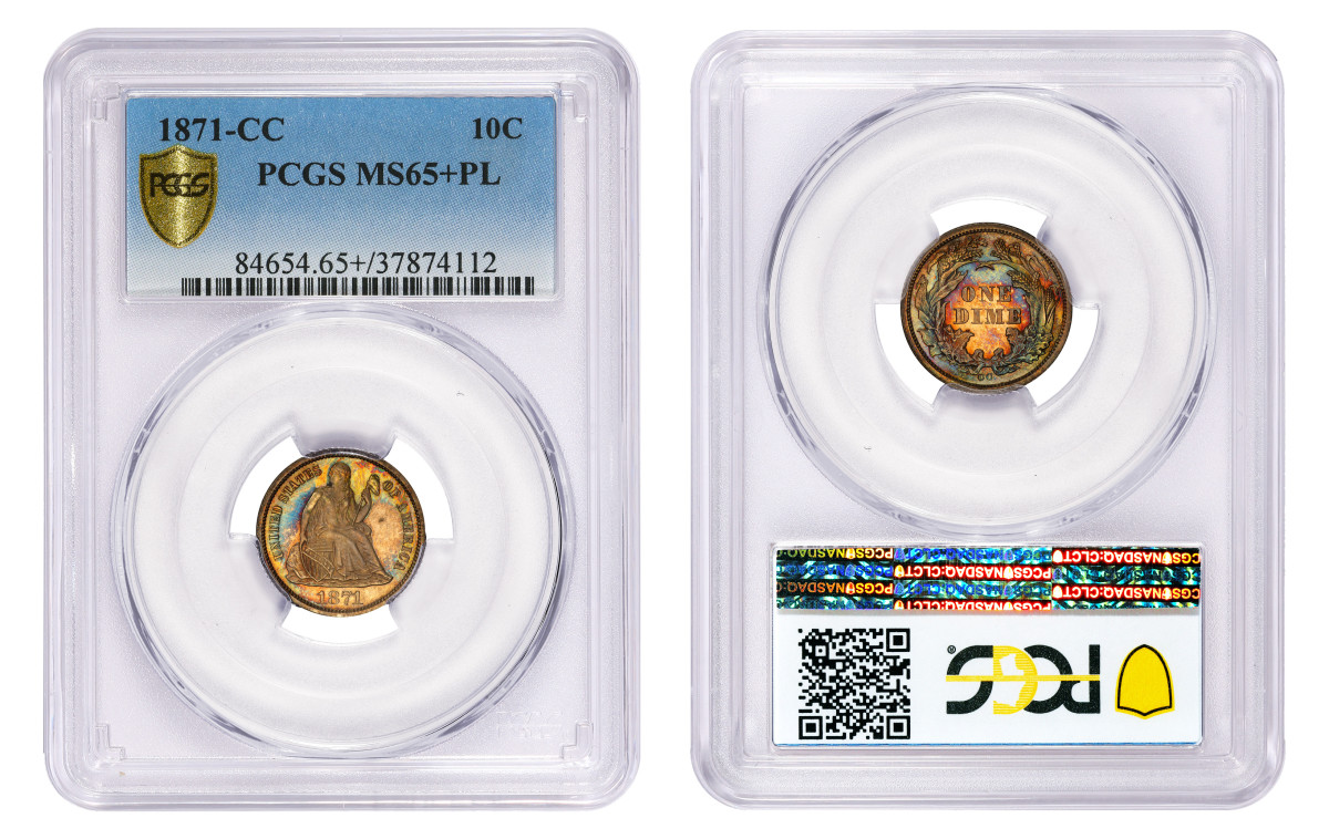 This 1872-CC Liberty Seated dime, graded PCGS MS65+PL, is the finest known of this scarce date and mint mark. (Photo credit: Professional Coin Grading Service www.PCGS.com)
