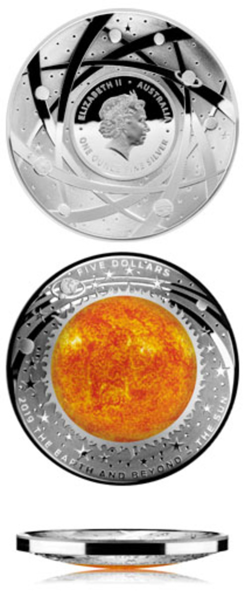Obverse and reverse of the latest domed RAM silver $5 that celebrates our life-giving sun, as well as an edge-on view. (Images courtesy & © RAM)