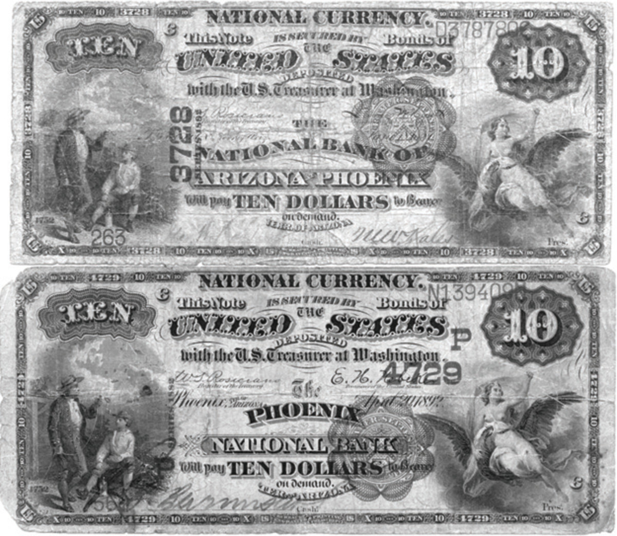 Different charter number placement varieties on a pair of Arizona territorial Brown Backs. The $10 from The National Bank of Arizona at Phoenix (3728), is the only reported Arizona territorial with a vertical charter number and was in the first shipment to the bank sent July 25, 1887.