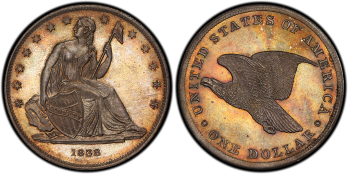 An 1838 Gobrecht dollar pattern that is part of the Simpson collection.