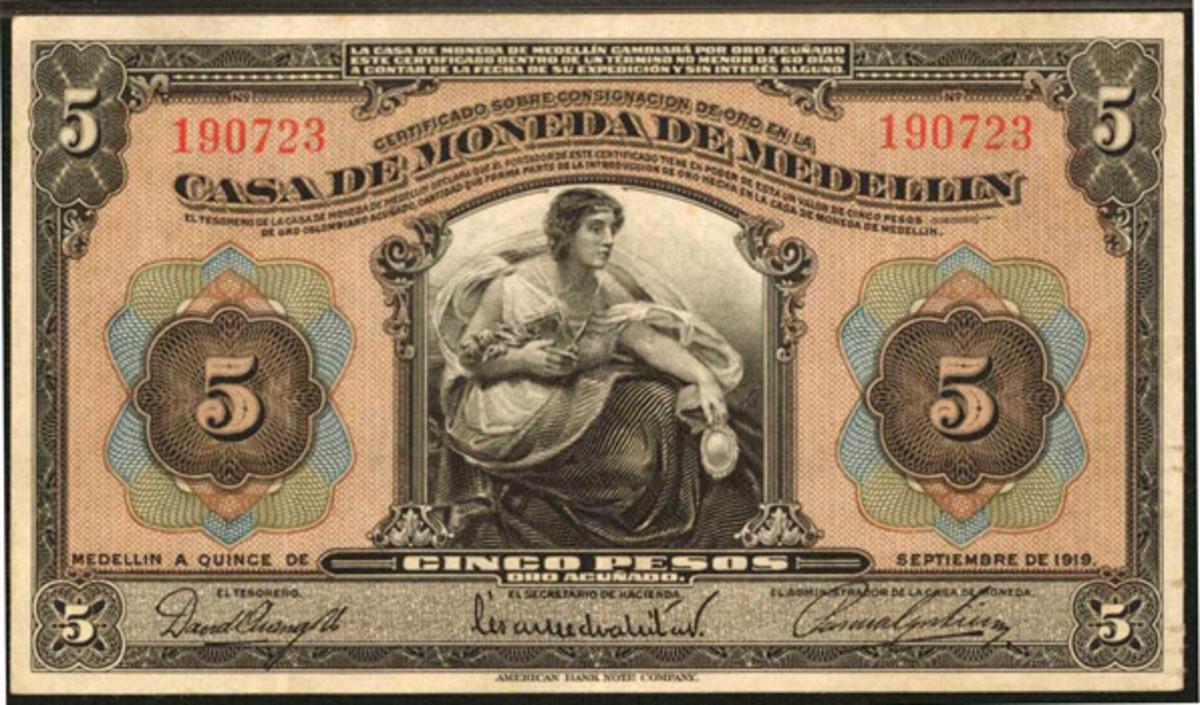 Banco de la República Billete Provisional 5 pesos overprinted on Casa de Moneda de Medellín c. 1923 (P-352) that realized a healthy $33,600 on a $6,000-$9,000 estimate. (Image courtesy Stack's Bowers.)