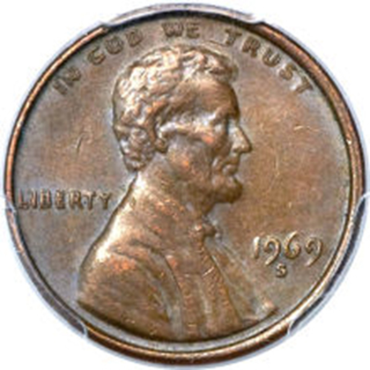 Obverse of Bill Gaitan's AU-55 1969-S double die cent.