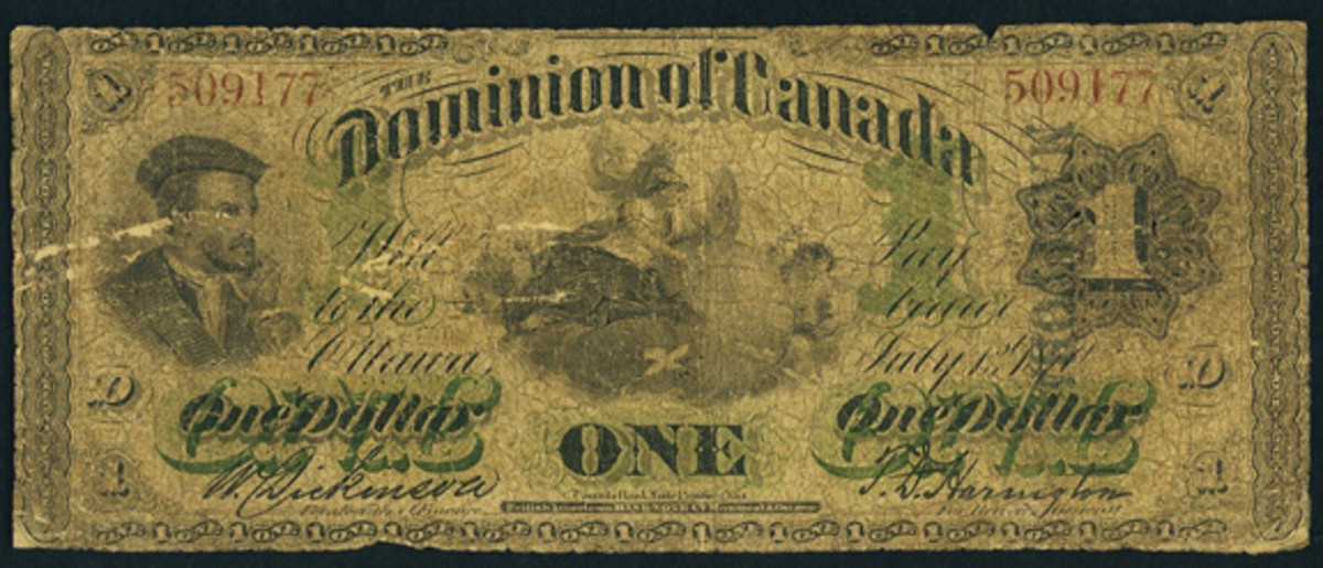 Rarity trumps condition: Manitoba overprint Dominion of Canada $1 of 1870 (DC-2bii). It made an easy $38,400 in PMG Good 6 given it is likely the sole example in private hands. (Image courtesy and © www.ha.com)