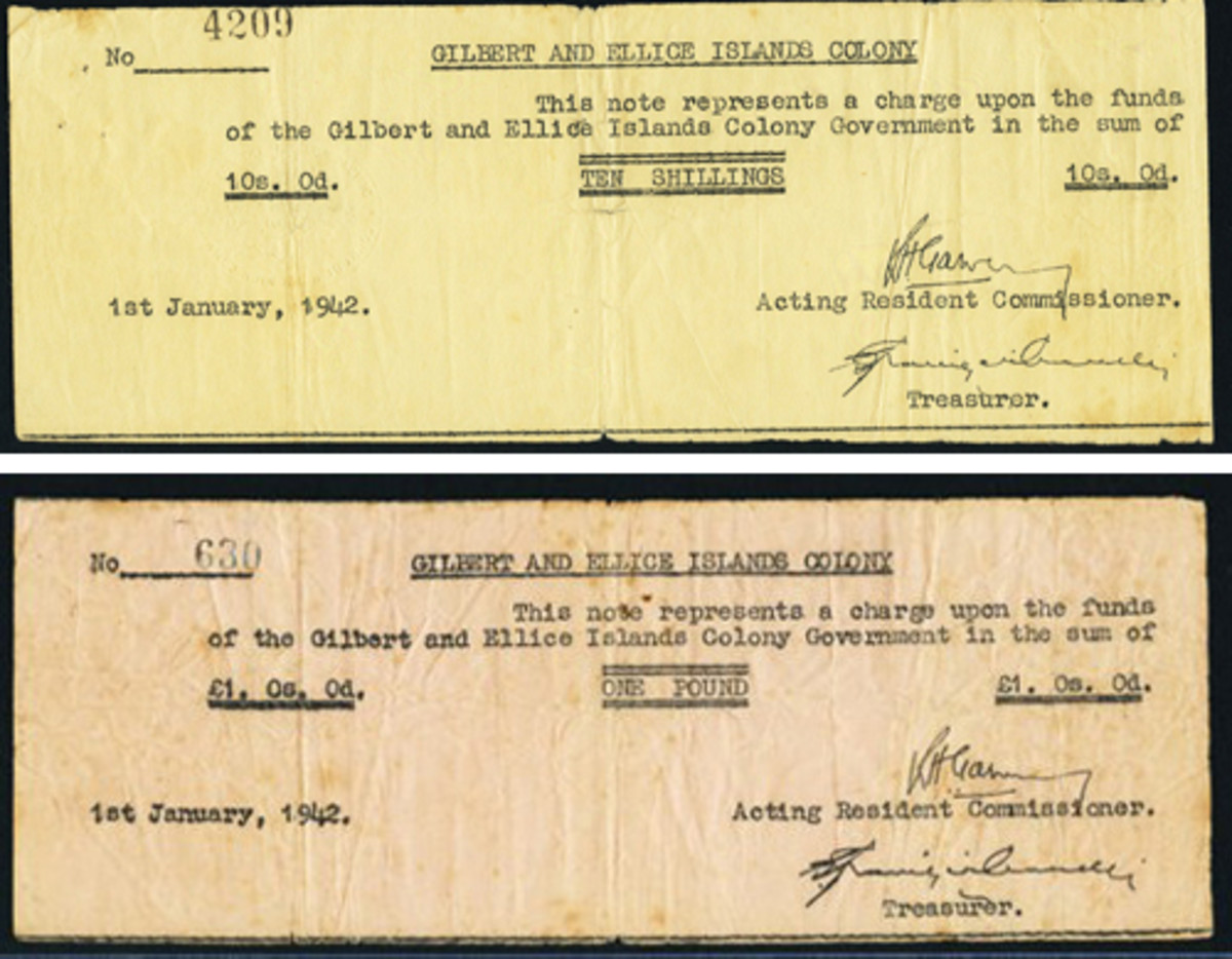 Desirable WWII Pacific rarities: Gilbert & Ellice Islands' 10 shillings (P-4) and pound (P-5) that sold for $11,700 and $11,400, respectively. (Images courtesy and © www.ha.com)