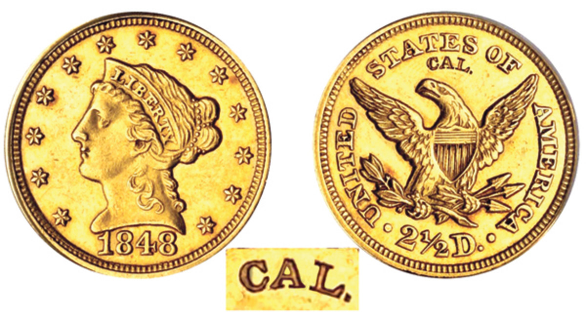 The 1848 CAL quarter eagle. The stamped CAL. from the reverse is enlarged at the bottom. (Image courtesy Stack's Bowers)