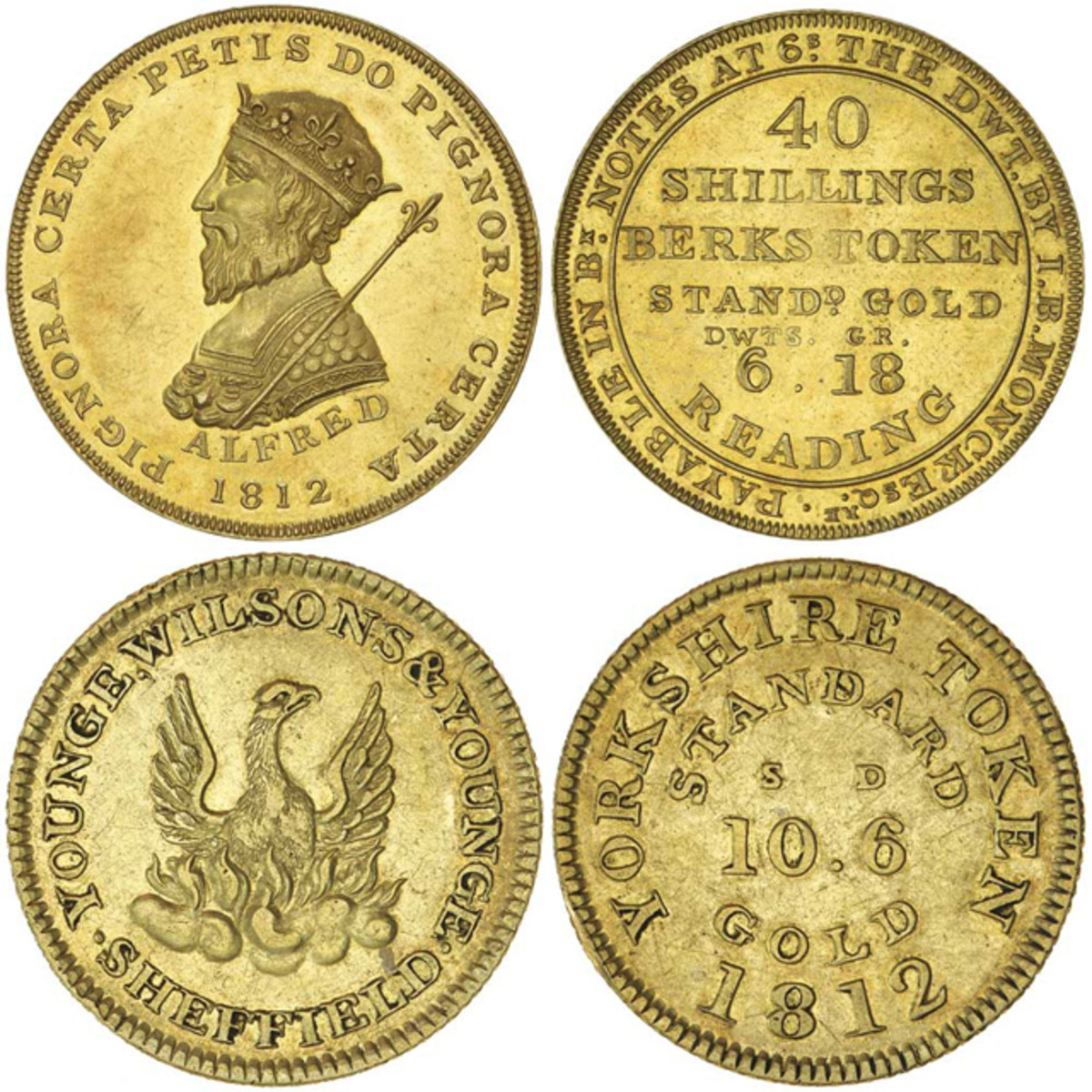 Berkshire forty shillings and Yorkshire ten shillings and sixpence gold tokens of 1812 that sold in Sydney in April for $12,605 and $5,402 respectively. Images courtesy Noble Numismatics.