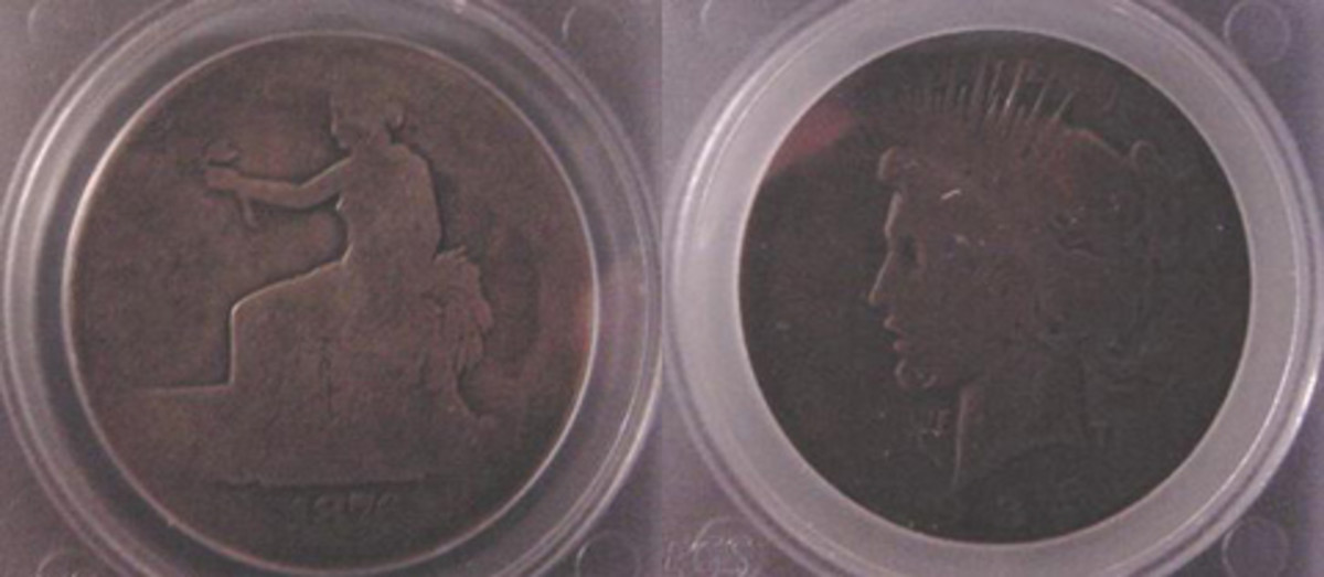 NN09, a Trade dollar, and NN10 a Peace dollar also seem to have spent their lives in someone's pocket.
