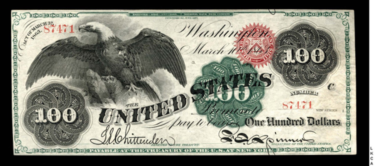 """This 1863 """"Spread Eagle"""" $100 Legal Tender Note should be a top draw at Memphis."""