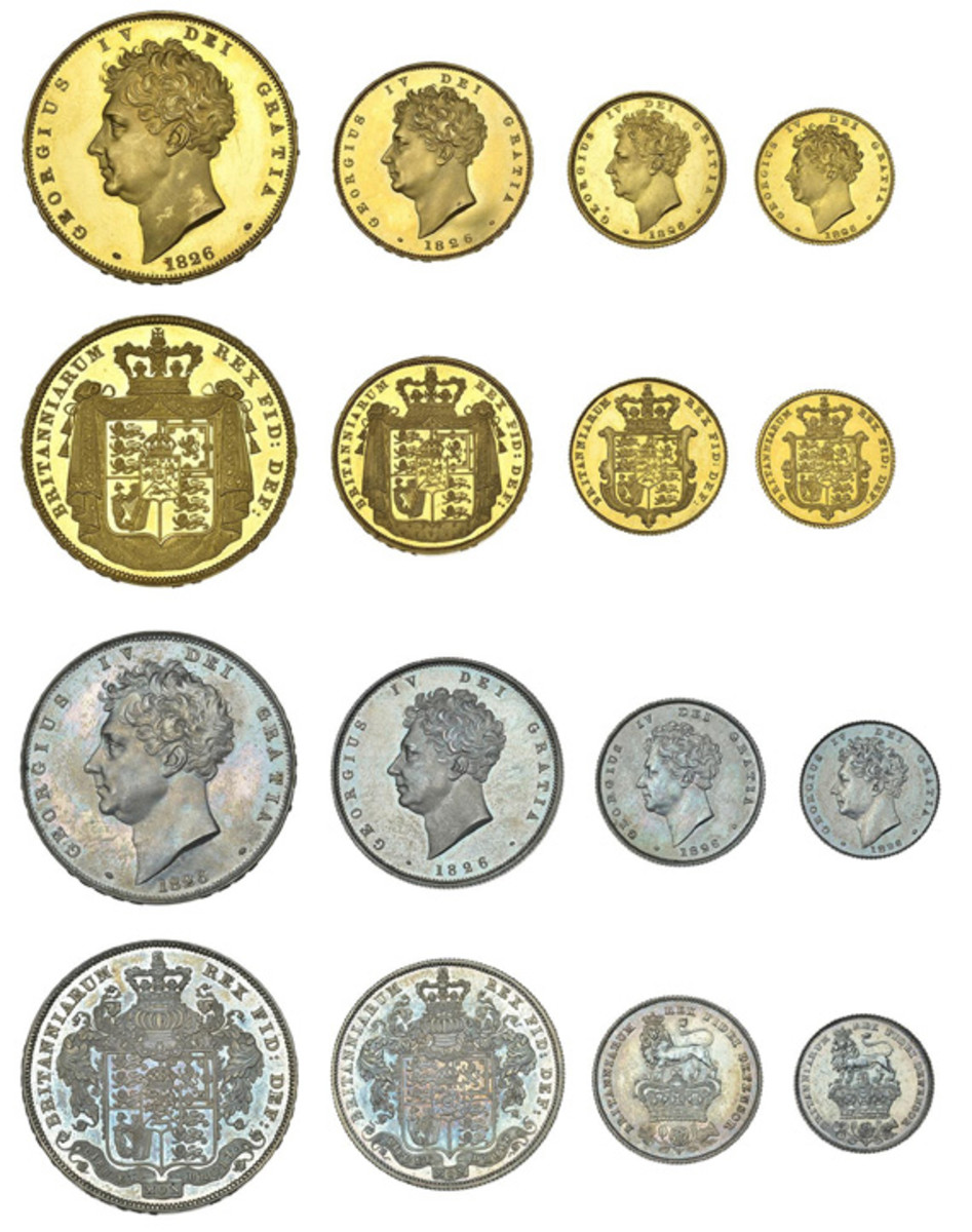 Extremely rare and choice George IV proof set of 1826 that will be offered at DNW's December sale. The particular coin combination is unlisted in SCWC or Spink. (Image courtesy DNW)