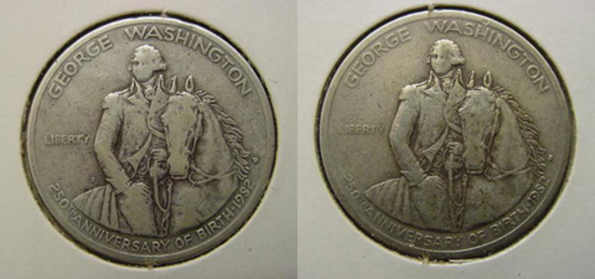 Two different Washington half dollars were each carried as a pocket piece for 10 years. The results are above. NN01, left, was the first 10 years and NN02 was the second decade.