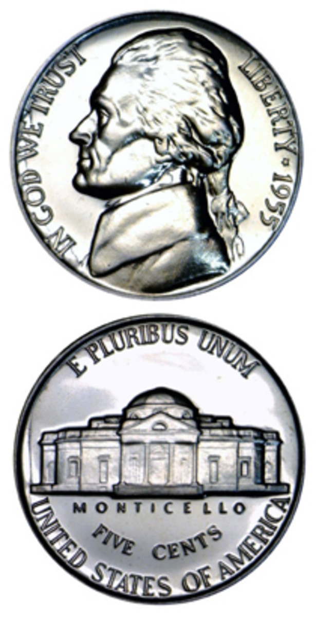 In a year filled with interesting coinage, the low-mintage 1955 Jefferson nickel has long been overlooked among other denominations. (Proof images courtesy www.usacoinbook.com)