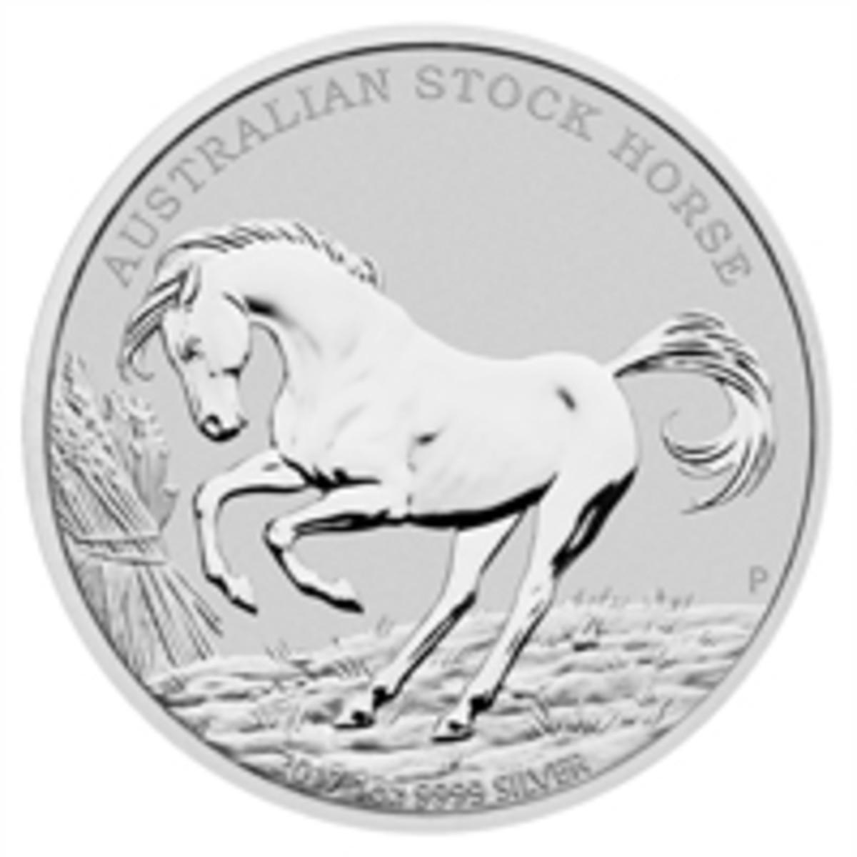 Jennifer McKenna's 2017 reverse design of the silver bullion $1 featuring a frisky Australian Stock Horse. (Image courtesy The Perth Mint)