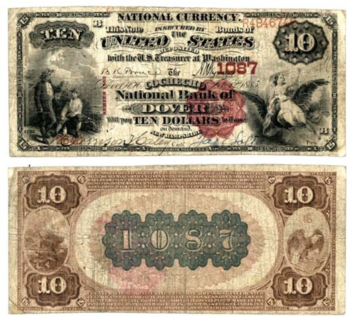 This $10 brown back discovery note on The Cochecho National Bank of Dover gives us at least one reported note from 77 of the 79 issuing banks in New Hampshire.