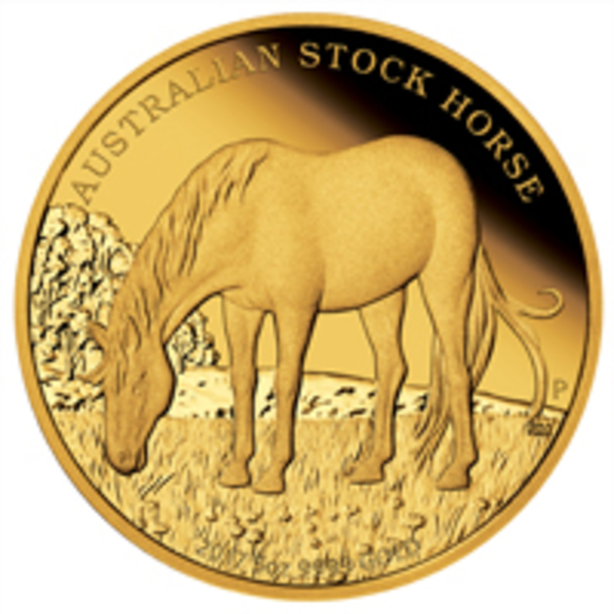 Natasha Muhl's design for this year's five-ounce gold $500 proof celebrating the Australia's Stock Horse. (Image courtesy The Perth Mint)