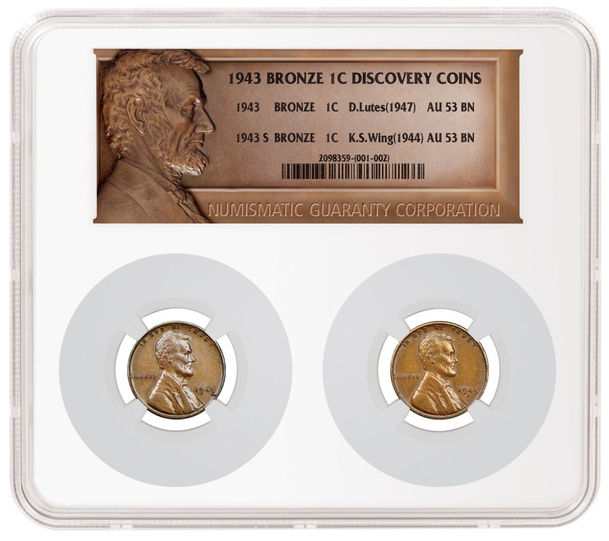 The 1943 Donald Lutes Bronze Cent, at left above, and the 1943-S Kennth S. Wing Bronze Cent,