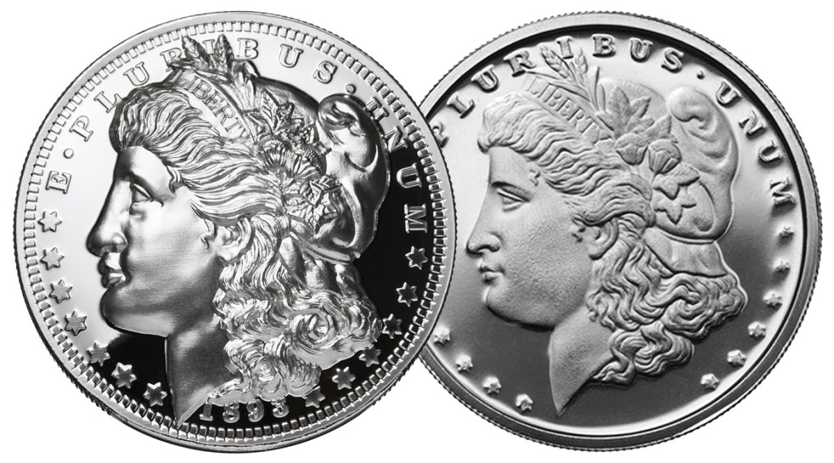 Shown side by side, note how the detail stands out on the American Legacy coin (left) with the extra deep relief compared to standard relief coins (right).