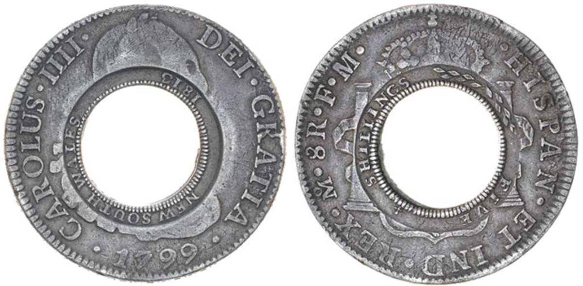 "Obverse and reverse of the 1813 holey dollar that fetched $175,566, the highest price achieved by a coin in the Noble's sale. It is described in the catalog as, ""one of the top twenty holey dollars known."" Images courtesy Noble Numismatics."