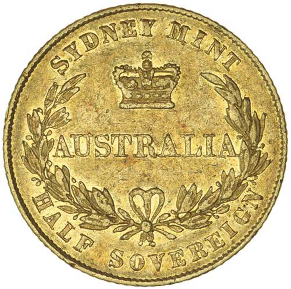 Reverse of the first type Australian half sovereign of Queen Victoria dated 1855 that realized $27,010 in gVF.  Image courtesy Noble Numismatics, Sydney.