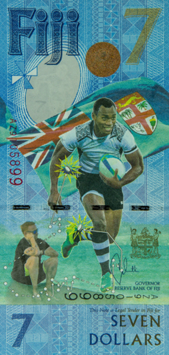 Face of Fiji's new unique $7 bank note celebrating the country's first ever Olympic gold medal won by their Rugby Sevens Team. (Image courtesy and © Reserve Bank of Fiji)
