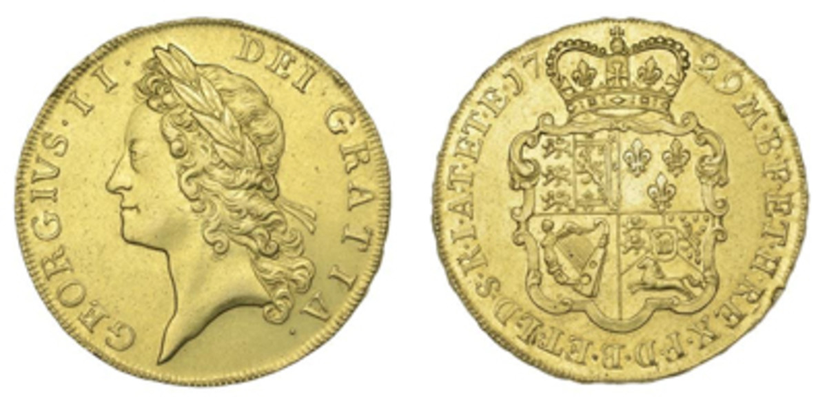 George II 5 guineas of 1729 (KM-571.1; S-3663) that goes to the block graded EF with an estimate of $25,000-$35,000. (Images courtesy DNW)