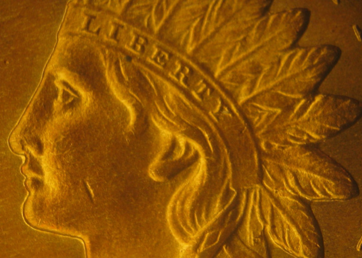 The mark on the cheek of this small Indian Head cent would be virtually lost on a Morgan dollar-sized coin.