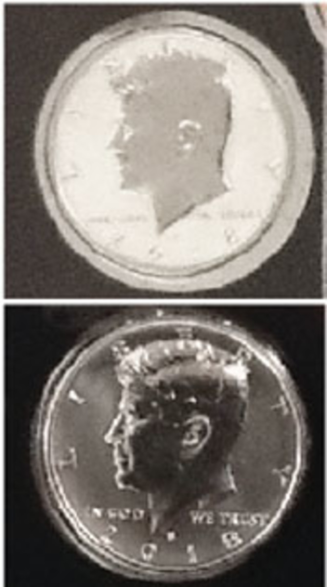 The fields of the error 2018-S half dollar are not frosted as they are supposed to be.
