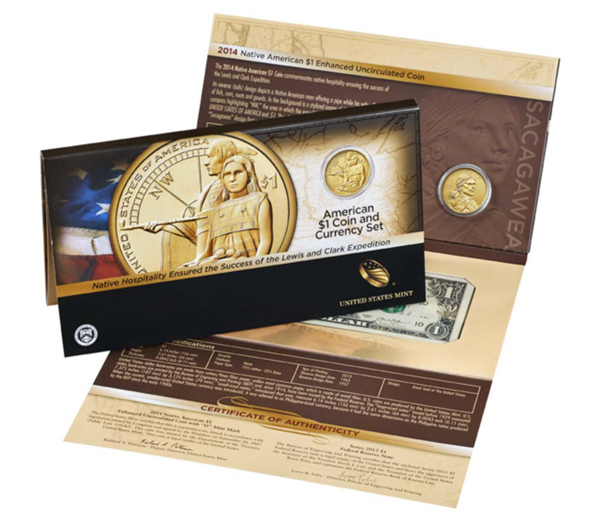 The 2014 Native American dollar coin and currency set features an enhanced uncirculated finish on the coin.