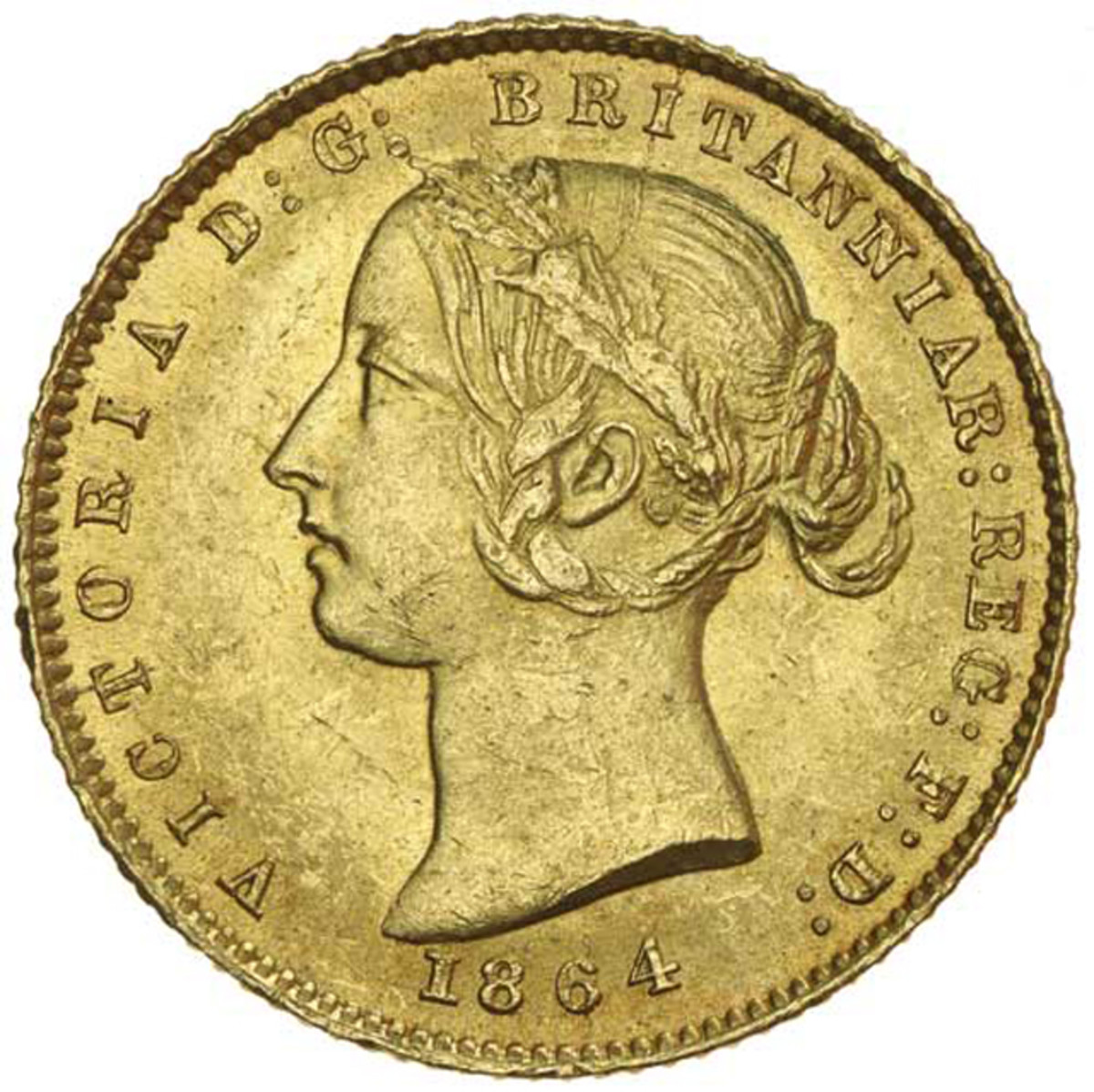 Obverse of second type of Queen Victoria half sovereign of 1864 with Roman I in date that took $18,06 in UNC. Image courtesy Noble Numismatics, Sydney.