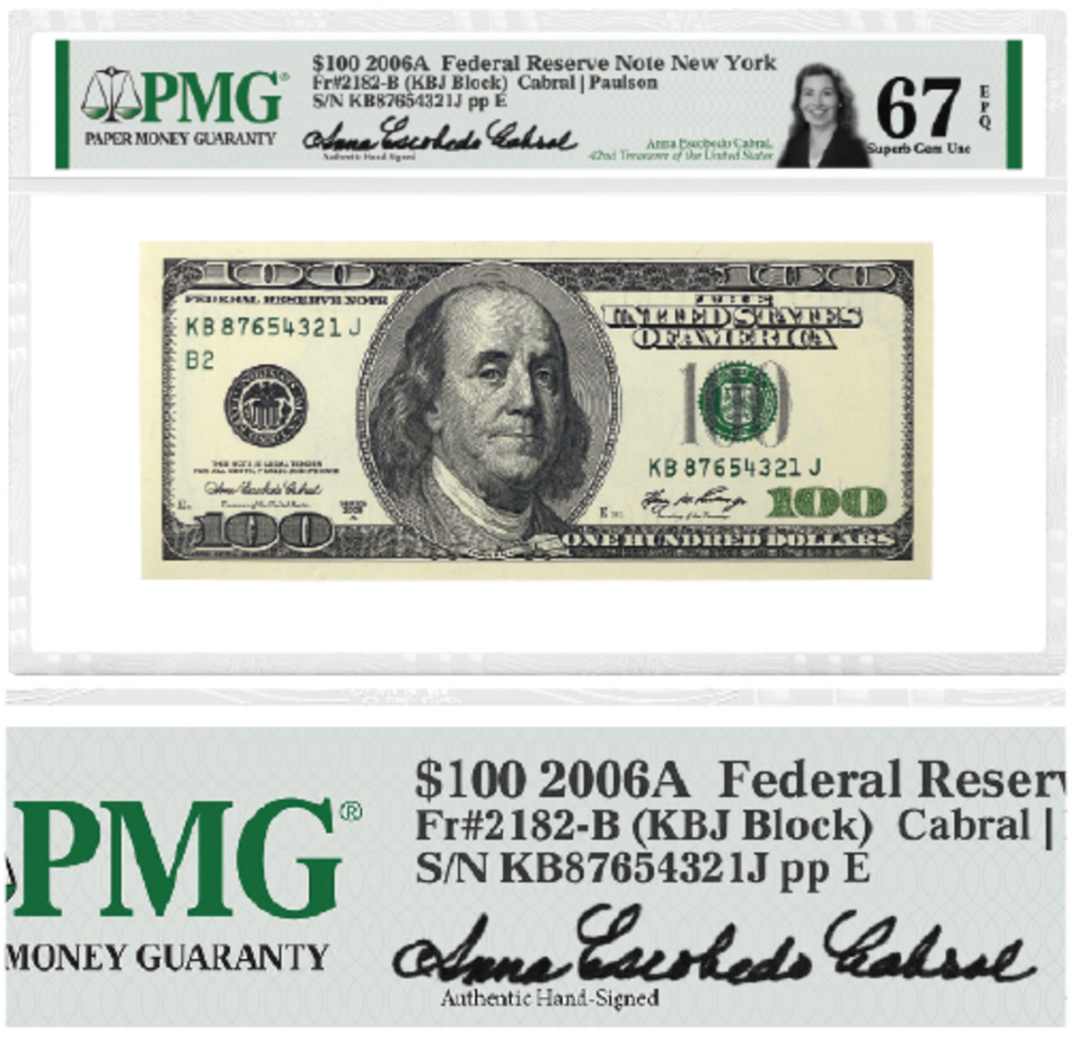 Hand-signed labels featuring the signature of Anna Escobedo Cabral, the 42nd Treasurer of the United States, will soon be available from Paper Money Guaranty. (Images courtesy PMG®)